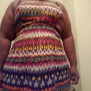 Torrid strapless tribal print dress